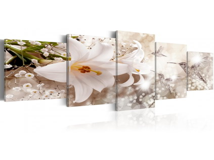 Pětidílný obraz lilie s kolibříky