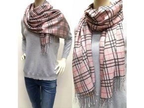 Kašmírový károvaný ružový šál