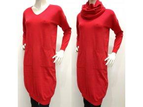 Dámske červené šaty s nákrčníkom