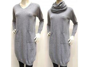 Dámske sivé šaty s nákrčníkom