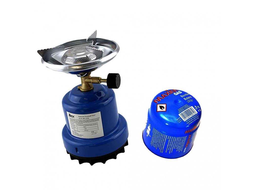 Plynový cestovní vařič s plynovou kazetu