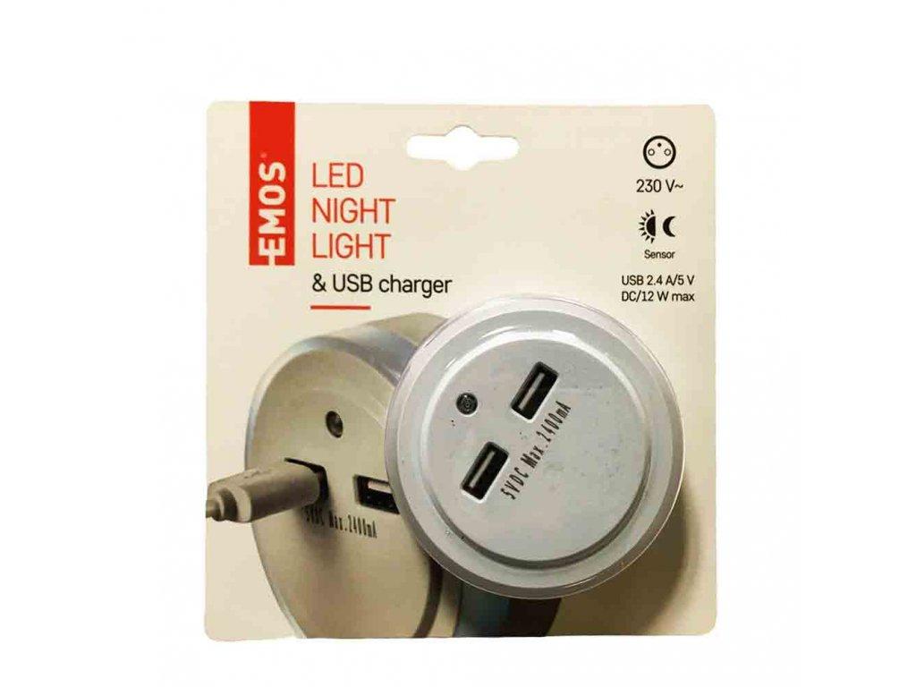LED noční světlo do zásuvky s 2x USB