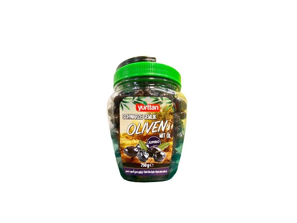 Olivy černé s olejem Extra, jumbo 750g