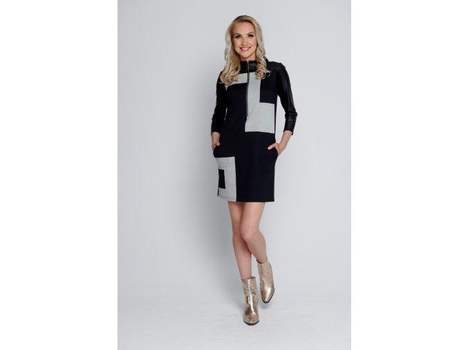 Šaty černo-šedé