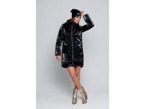 Černá lesklá zimní bunda