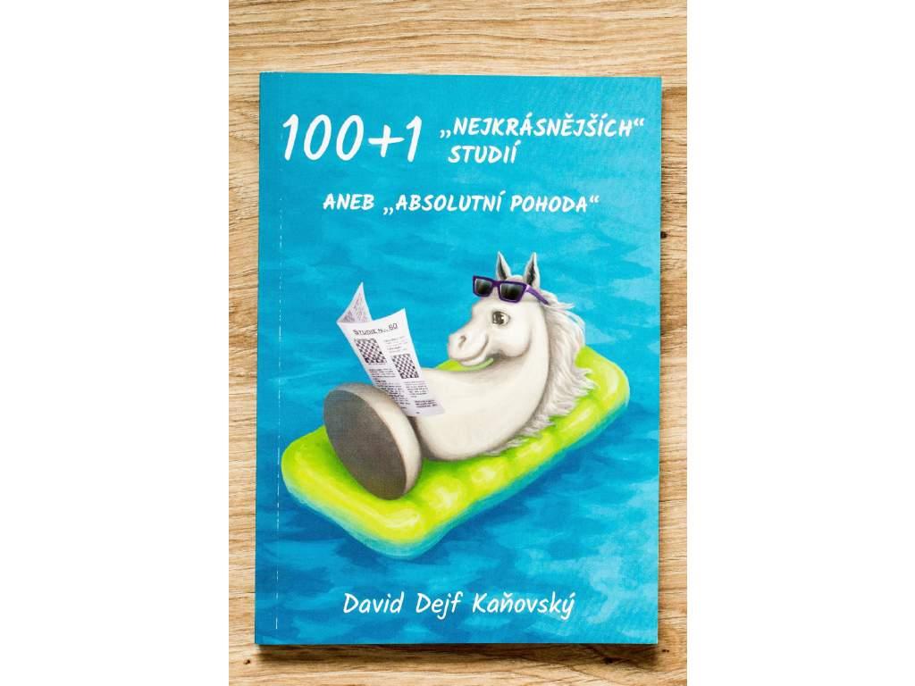 šachová kniha 100 + 1 najkrajších štúdií, tréningový materiál, autor David Dejf Kaňovský, biely šachový koník na obálke