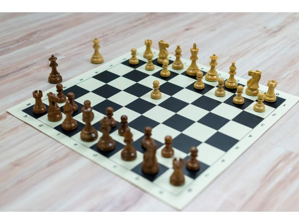Drevená šachová súprava CLASSIC s rolovacou šachovnicou (ŽLTÁ Žlto-hnedá tvrdá papierová šachovnica)
