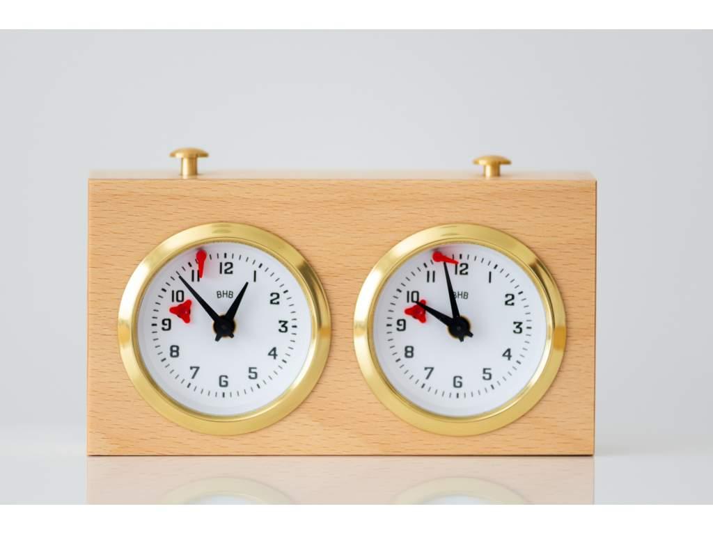 Analógové drevené šachové hodiny svetlé  + doprava zdarma