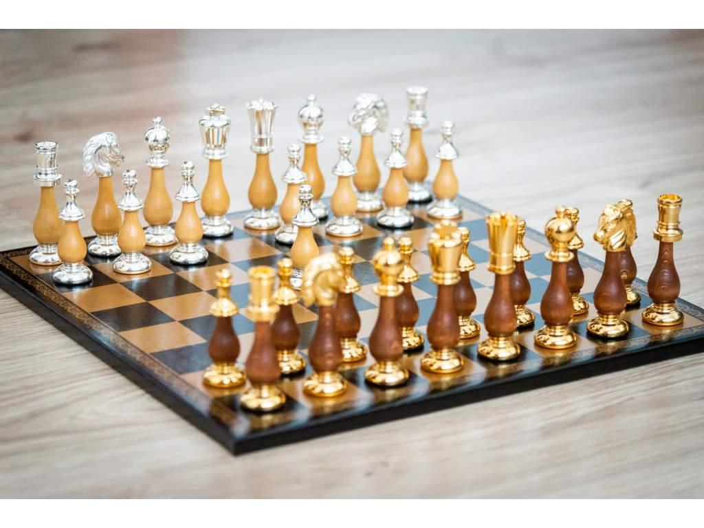 Šachová súprava Silver-Gold Orient  + doprava zdarma + darček