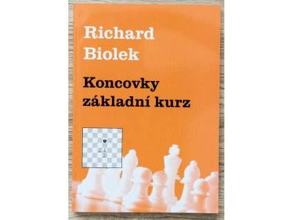 šachová kniha Koncovky základný kurz, viac typov koncoviek, autor majster Richard Biolek, na obálke biele šachové figúrky