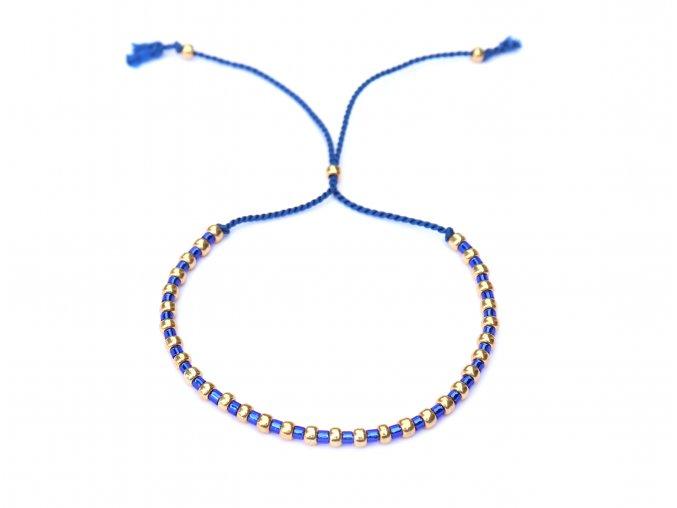 Modrý dámský náramek se zlatými korálky