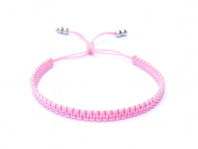 Růžový dámský macramé náramek