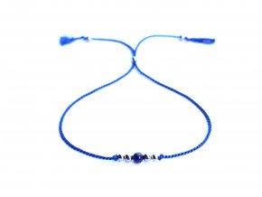 Dámský modrý náramek z hedvábí s lazuritem a korálky z chirurgické