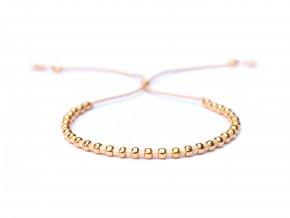 Jemný růžový dámský náramek se zlatými korálky Sadré