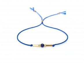 Jemný modrý náramek s lazuritem a zlatými korálky Sadré