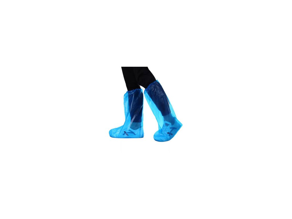 Factory Wholesale Plastic Waterproof Long Disposable Safety Shoe Cover Protective Thick Long Tube Rain Cover Non Slip High Tube Thick PE Plastic Shoe Cover