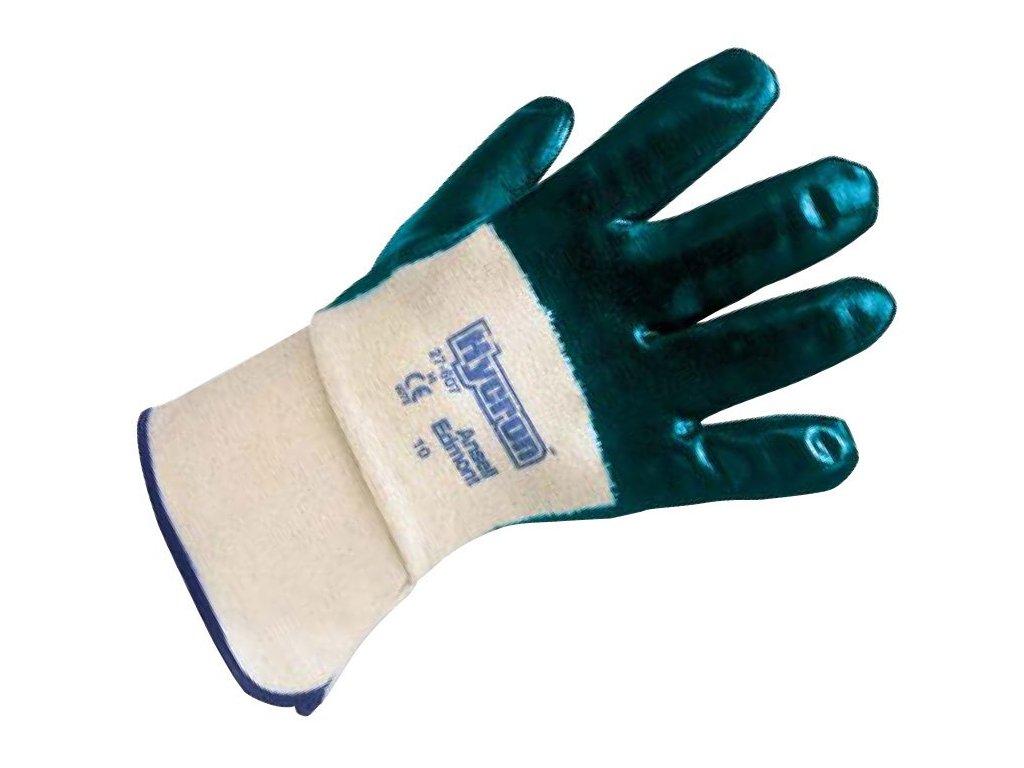 Unikátní nitrilové rukavice Ansell Hycron® 27-607 - povrstvená dlaň, bezpečnostní manžeta, délka 260 mm