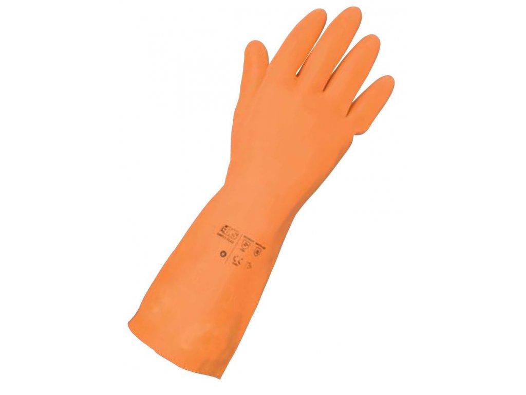 Latexové pracovní rukavice EDIS SIMPLY - oranžové