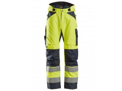 Kalhoty reflexní AllroundWork zimní, třída 2 žluté vel XS Snickers Workwear