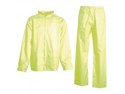 Reflexní nepromokavé kalhoty a bunda s kapucí na límci SET FLUO