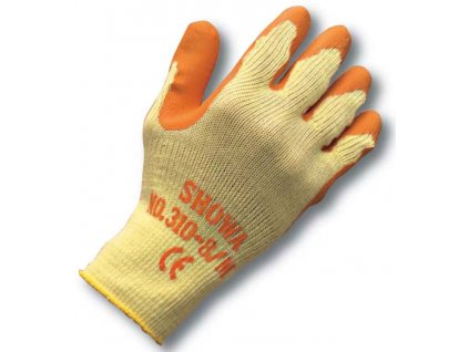 Univerzální pracovní rukavice Showa Grip 310 - oranžová - bezešvý polyester s dlaní povrstvenou protiskluzným latexem - oranžové