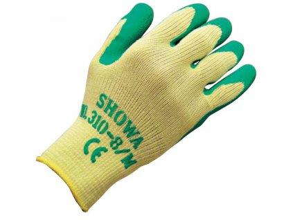 Univerzální pracovní rukavice Showa Grip 310 - zelená - bezešvý polyester s dlaní povrstvenou protiskluzným latexem - zelené
