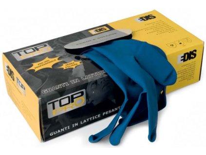 Jednorázové pracovní rukavice EDIS - LATEX TOP-PRO bez prášku modré