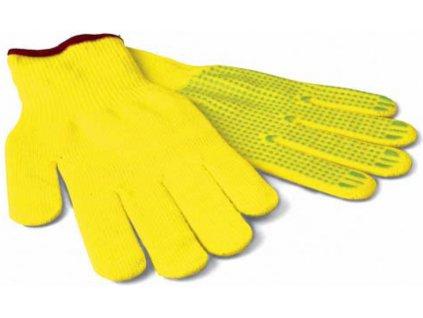 Pracovní rukavice FLUO s podšívkou a terčíky - žluté