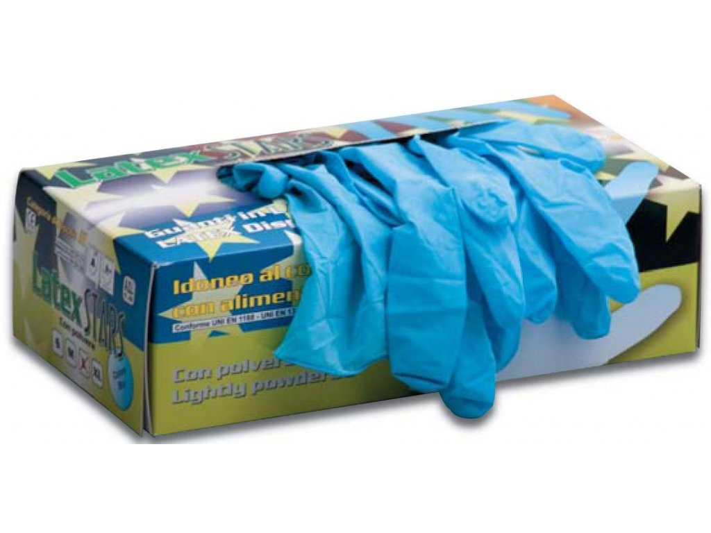 Jednorazové pracovné rukavice EDIS - LATEX modré (Veľkosť rukavíc S)