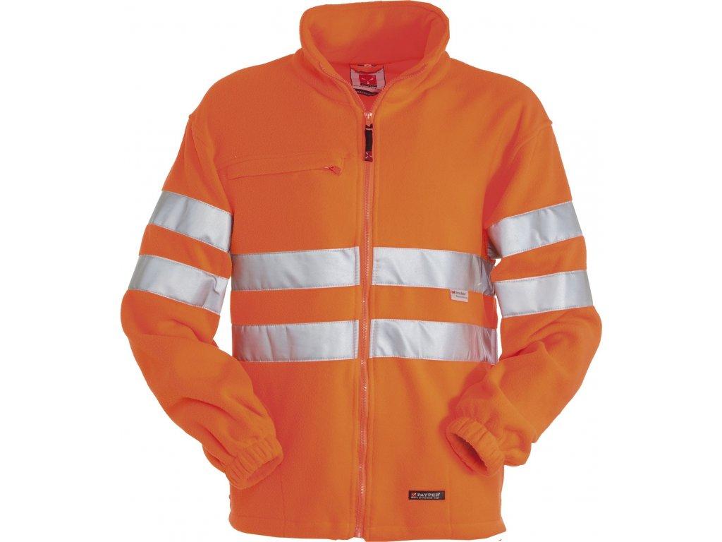 Pánska fleecová bunda s reflexnými pruhmi Payper LIGHT 280 Gr / MQ (Farba ORANŽOVÁ FLUO, Veľkosť S)