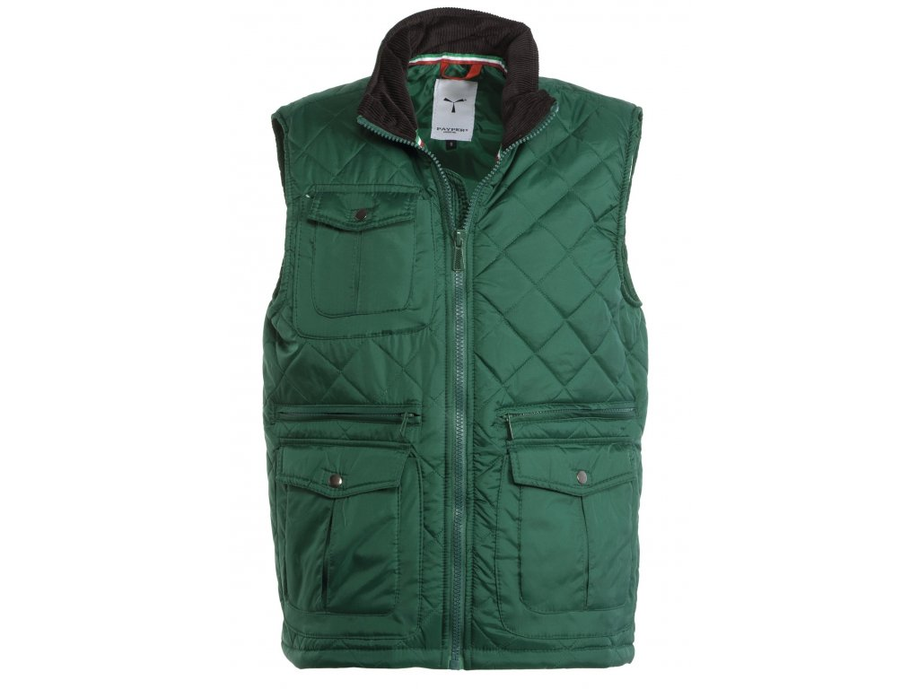 Pánska prešívaná vesta s plastovým zipsom GATE 65 GR / MQ (Farba zelená, Veľkosť S)