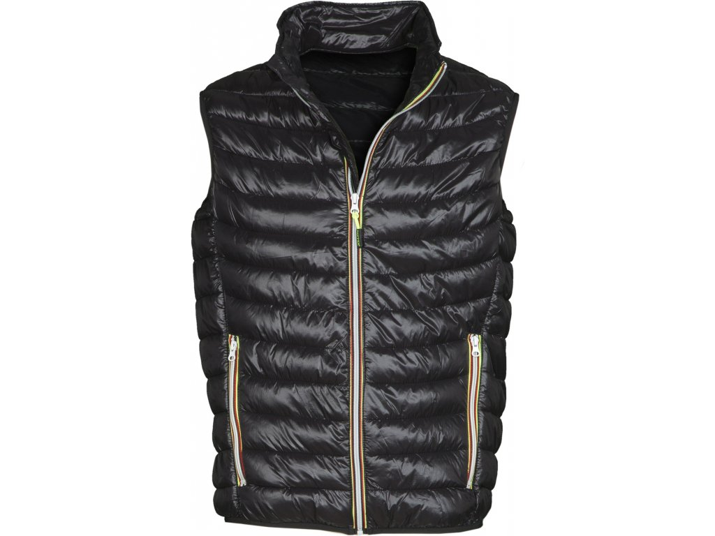 Pánska vesta s nylonovým zipsom REPLY 38 GR / MQ (Farba Čierna / žltá, Veľkosť S)