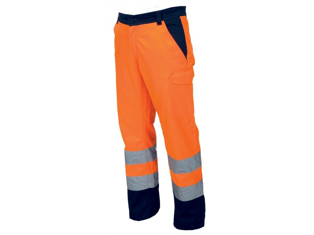 Pánske dvojfarebné zimné nohavice s flanelovú podšívkou CHARTER POLAR (Farba ORANŽOVÁ FLUO / námornícka modrá, Veľkosť S)