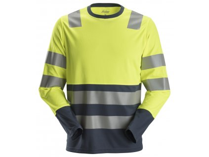 Triko AllroundWork reflexní s dlouhým rukávem, tř. 2 žlutomodré XXXL Snickers Workwear (veľkosť XS)