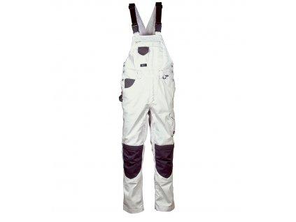 Maliarske nohavice s trakmi COFRA GINEVRA 300g / m2 (Farba Biela / Čierna, Veľkosť 44)