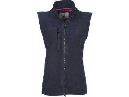 Dámska fleecová vesta s plastovým obojsmerným zipsom EASY + 280 GR / MQ (veľkosť S, farba námornícka modrá)