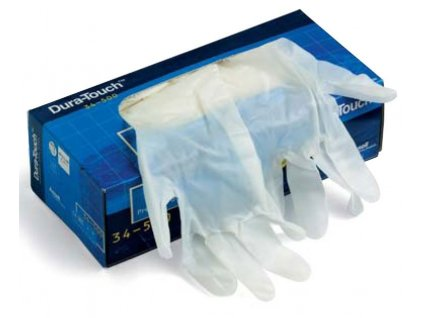 Ansell Dura-Touch® 34-500 - Obojručné jednorázové vinylové rukavice (veľkosť rukavíc 7 - 7,5)