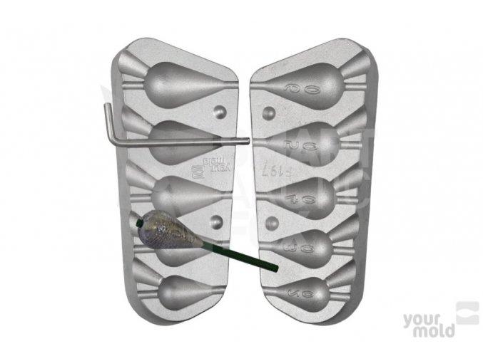 Forma na olovo F197 Inline hruška (20/30/40/50/60g)