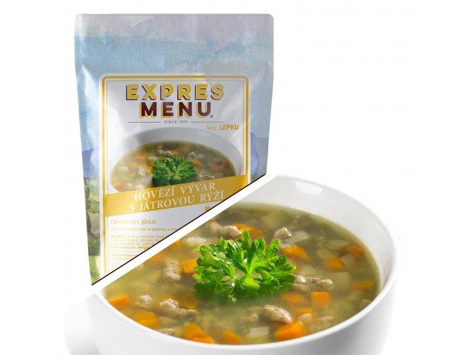 EXPRES MENU Hovězí vývar s játrovou rýží  (1 porce) 300