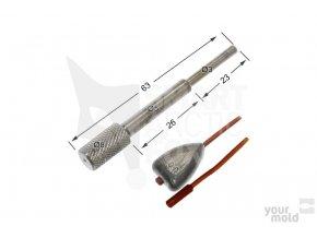 Konusové ocelové vodítko do inline formy na olovo
