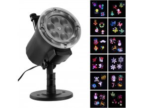 0 2019 Star Christmas Lights Outdoor Waterproof LED Laser Snowflake Projector RF Wireless Remote 16 Film Cards