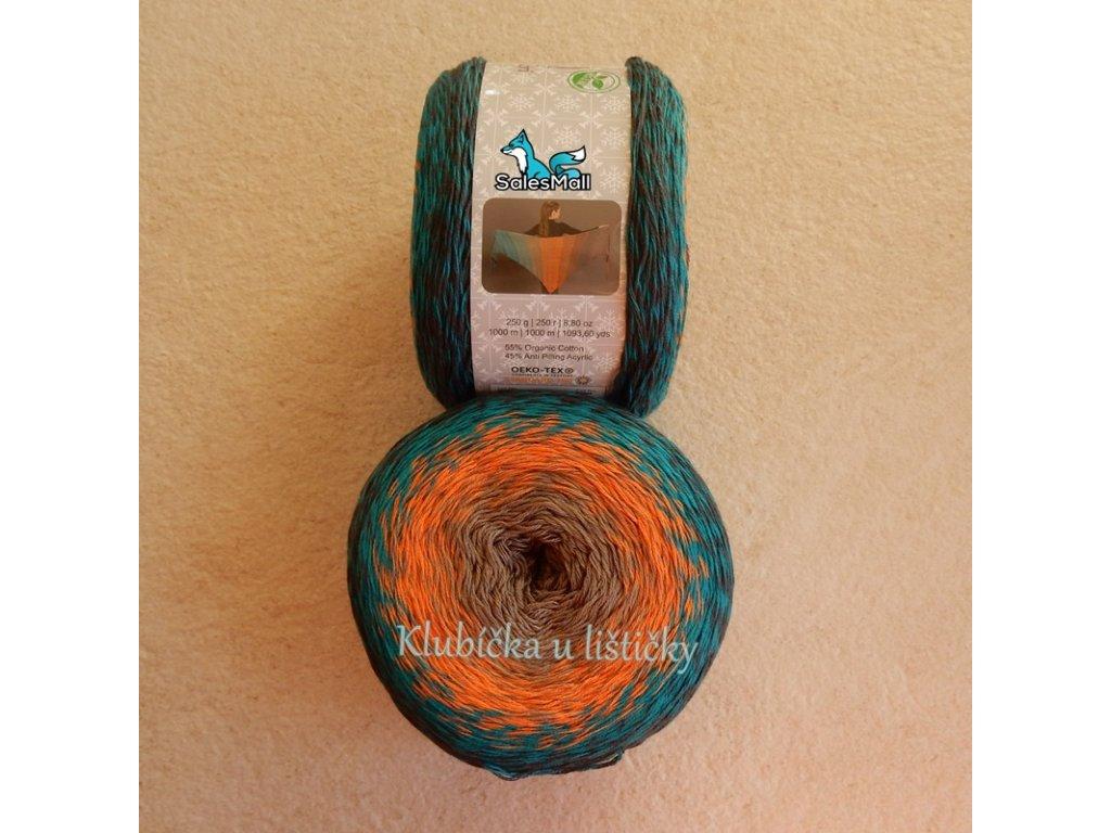 Příze Puzzle oranžová modrá indigo PZ09