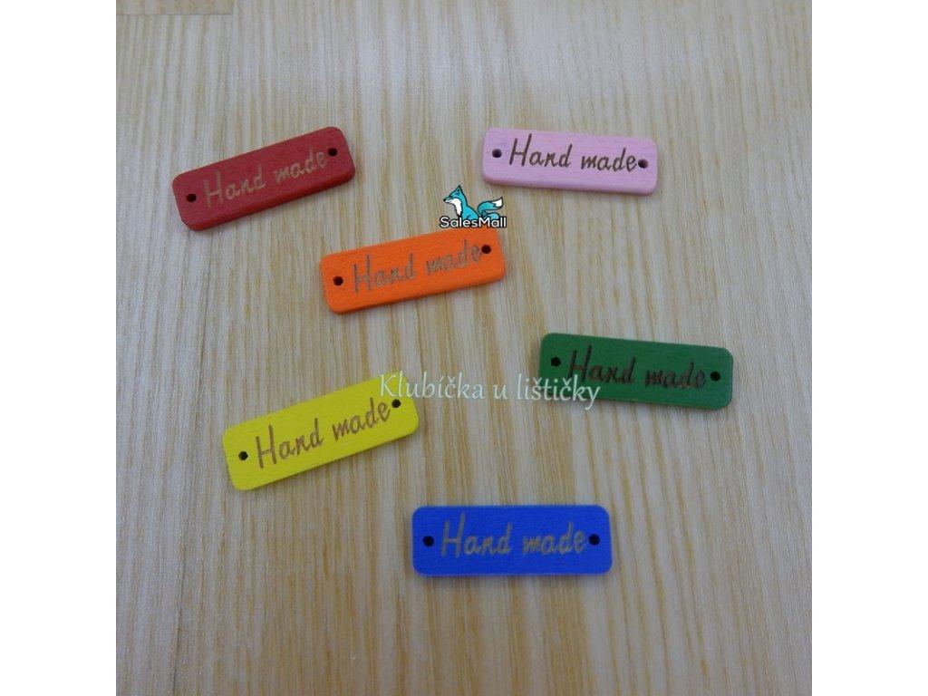 Handmade obdélník dřevěný barevný mix  30x10mm