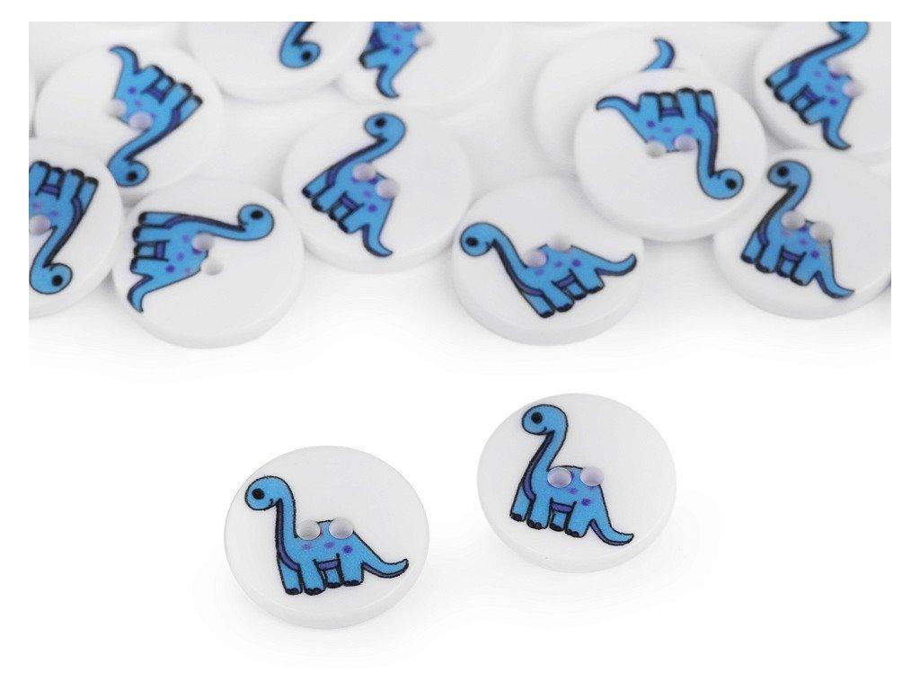 Knoflík dětský dinosaurus modrý