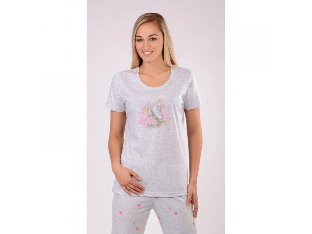 Dámské pyžamo-krátký rukáv Slon s květy šedá
