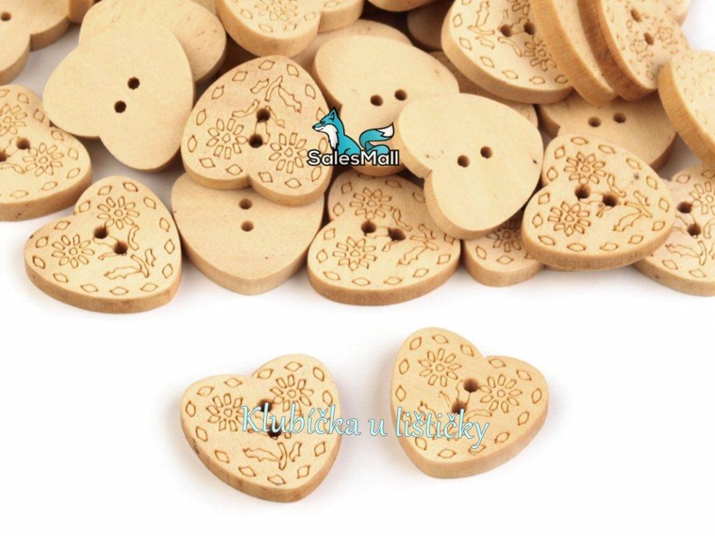 """Dřevěný knoflík srdce 24"""""""