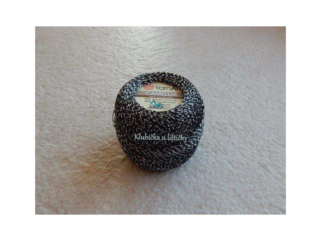 YarnArt Camellia 412 -černo stříbrná