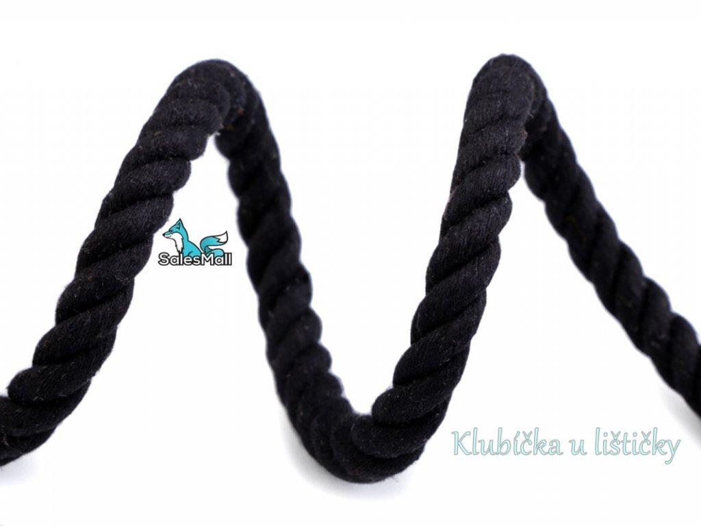 Bavlněná šňůra kroucená 10mm černá