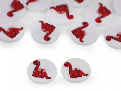 Knoflík dětský dinosaurus červený