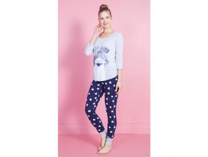 Dámské pyžamo-dlouhý rukáv Méďa ospalec